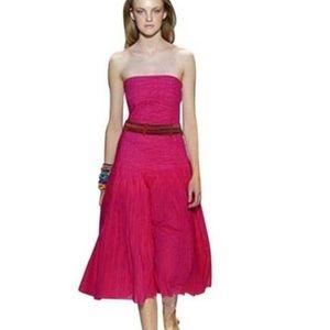 Vintage DVF, Size 4, Fuschia Strapless Dress